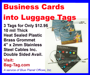 Business cards into luggage tags